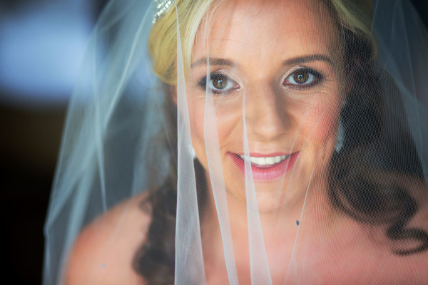 close up of bride's face