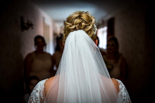 back of bride's head close up